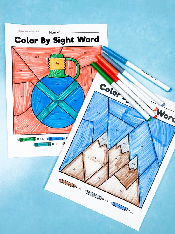 camping sight word color by number printables