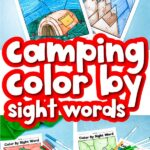 camping sight word color by number printables with the words camping color by sight words in the middle