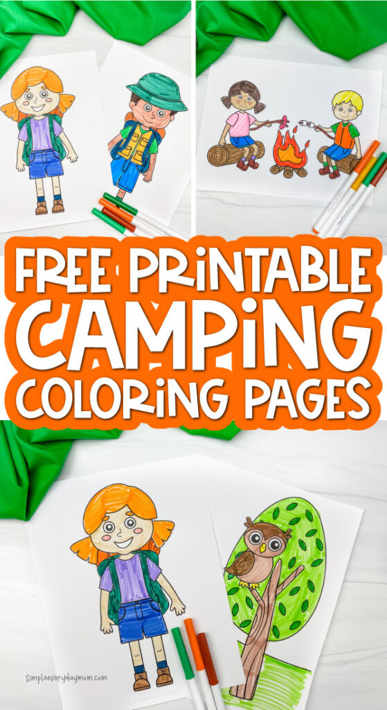camping coloring page image collage with the words free printable camping coloring pages in the middle