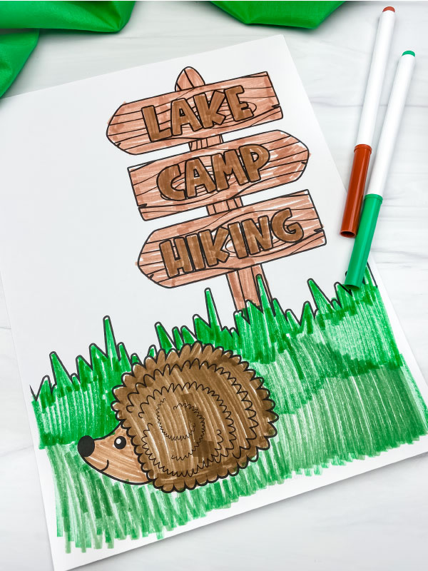 hedgehog and sign coloring page