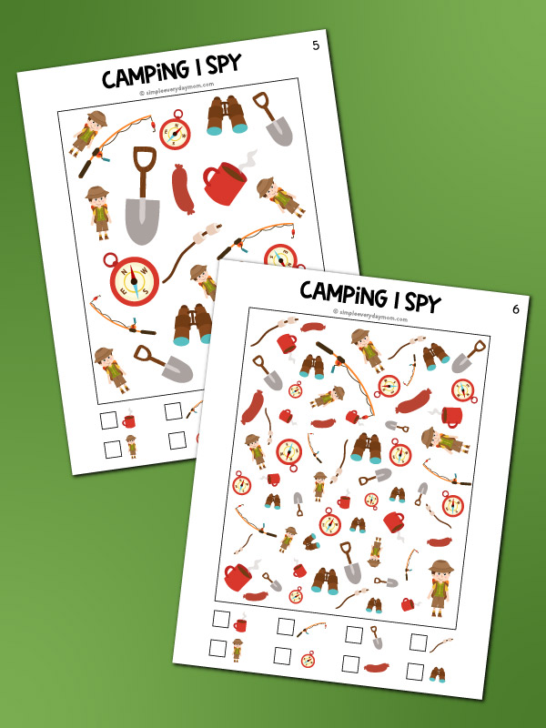 camping i spy printables mockup