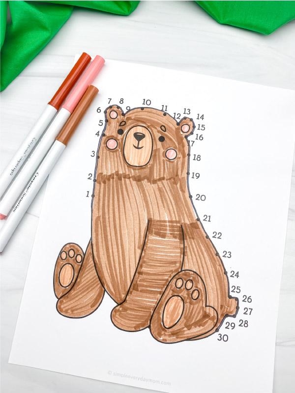 bear dot to dot printable