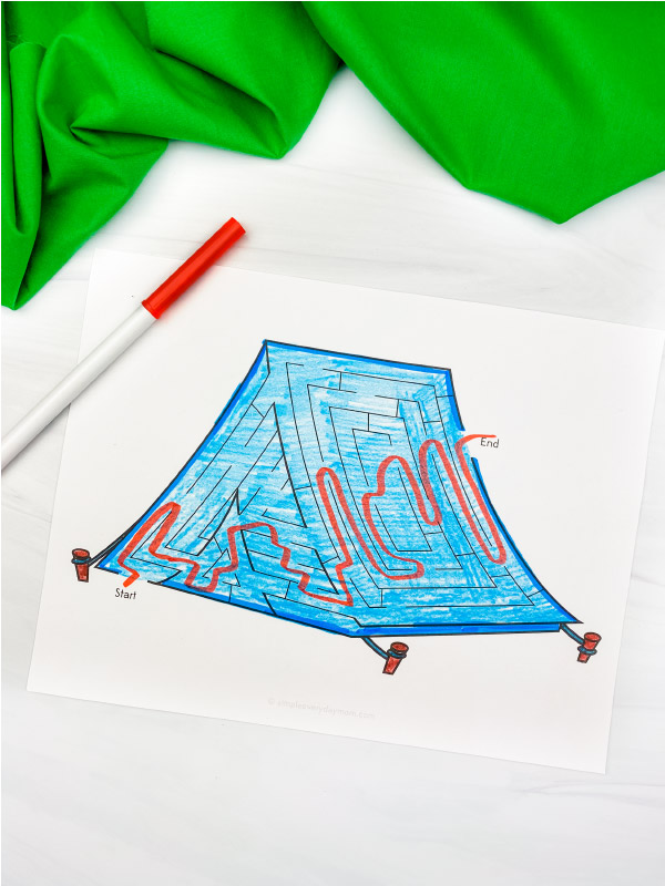 camping maze printable