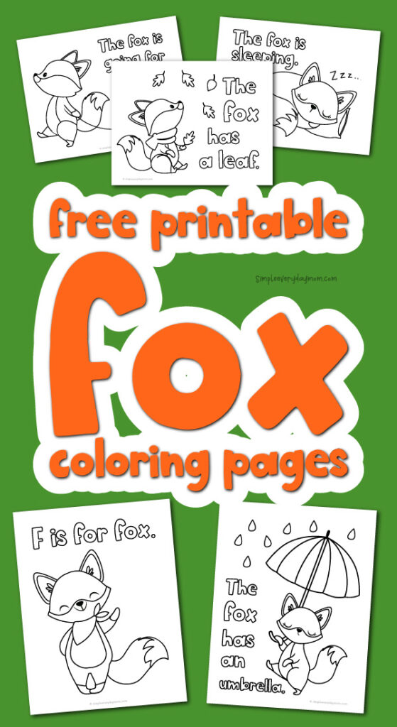 fox coloring page image collage with the words free printable fox coloring pages in the middle