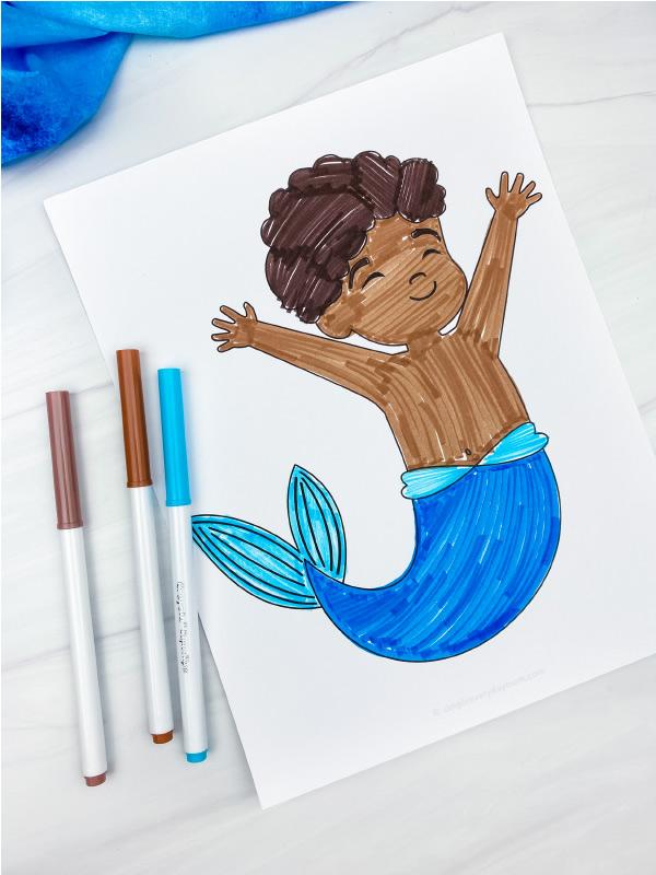 boy mermaid coloring page