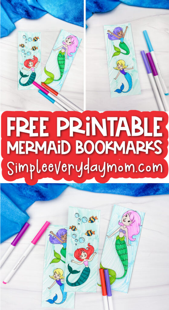 mermaid coloring page bookmarks image collage with the words free printable mermaid bookmarks in the middle