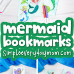 mermaid coloring page bookmarks image collage with the words mermaid bookmarks in the middle