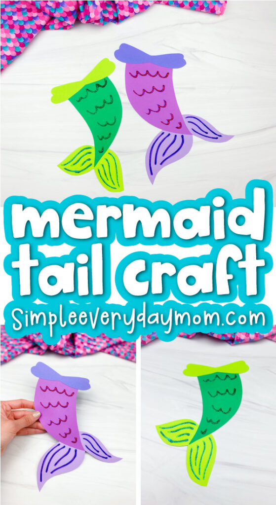 mermaid tail craft image collage with the words mermaid tail craft in the middle