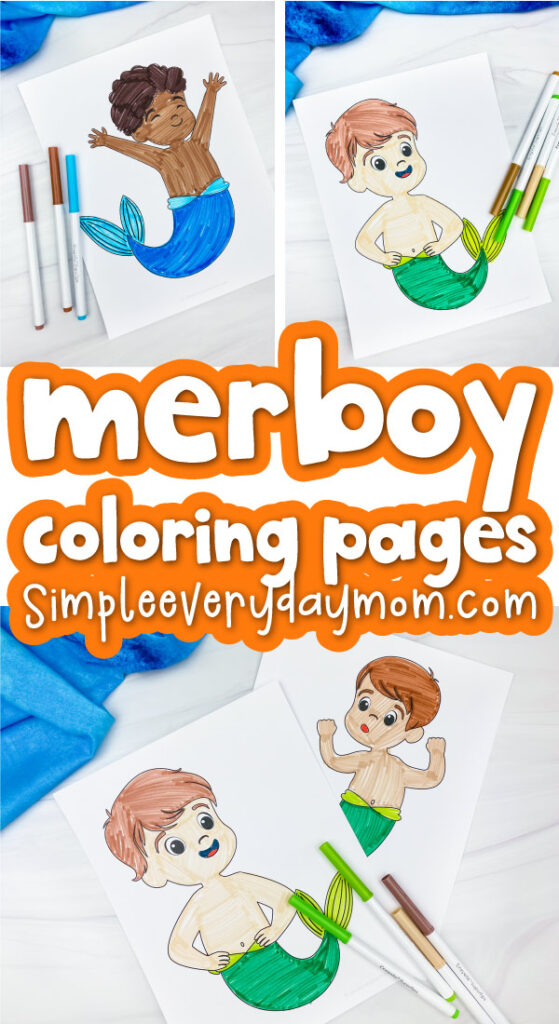 boy mermaid coloring page collage with the words merboy coloring pages in the middle