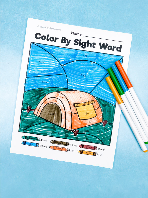 tent color by sight word printable