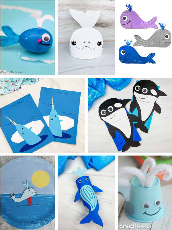 whale crafts image collage