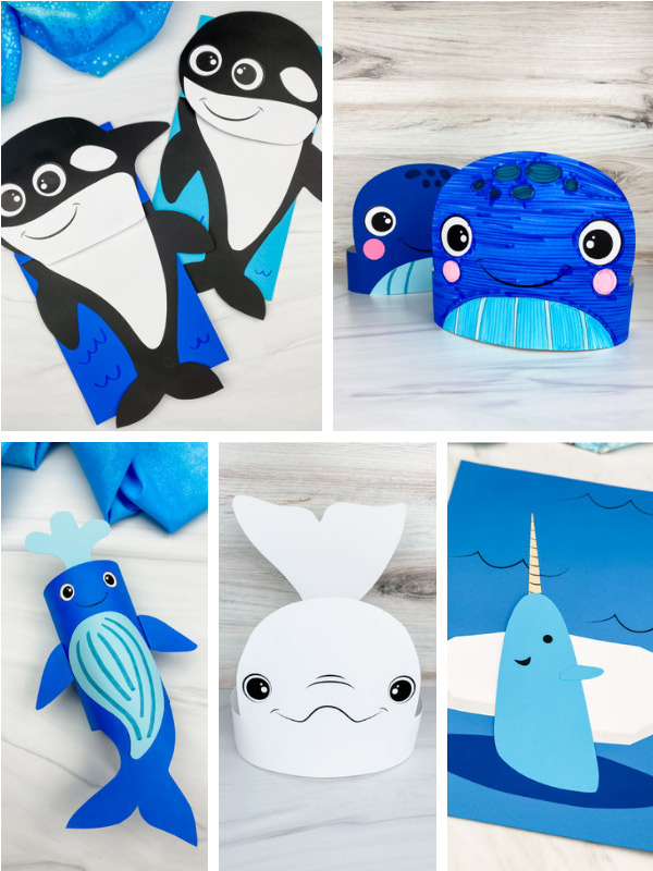 whale craft image collage