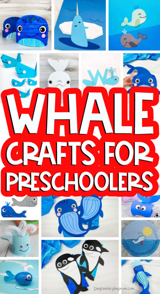 whale crafts image collage with the words whale crafts for preschoolers in the middle