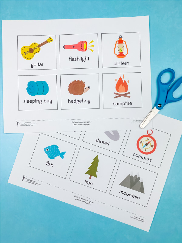 printable camping flashcards