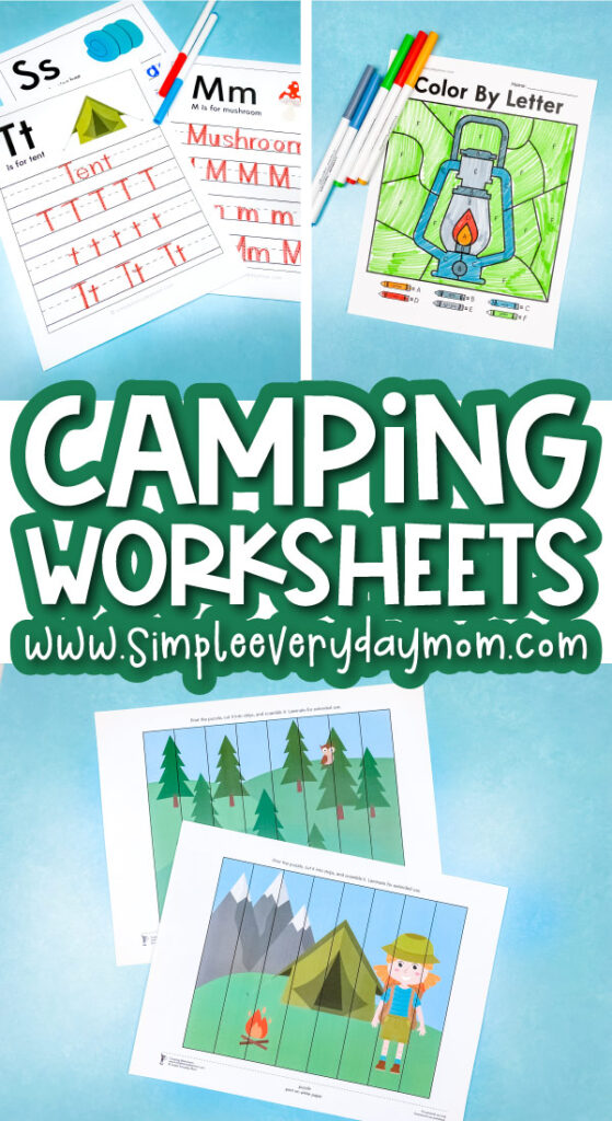 camping worksheet image collage with the words camping worksheets in the middle