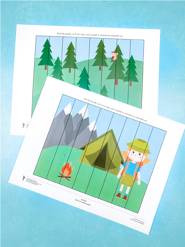 camping printables puzzles