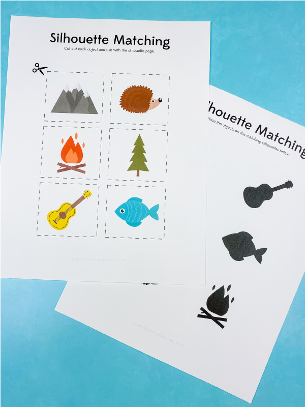 camping silhouette matching printables