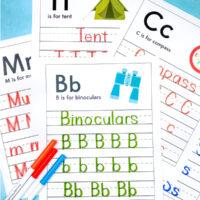 camping themed handwriting worksheets