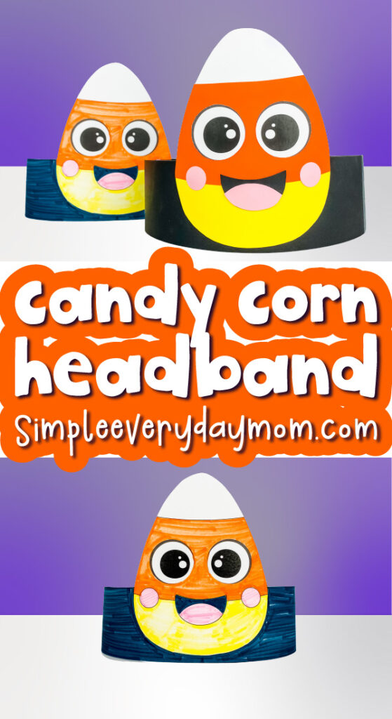 candy corn headband craft image collage with the words candy corn headband