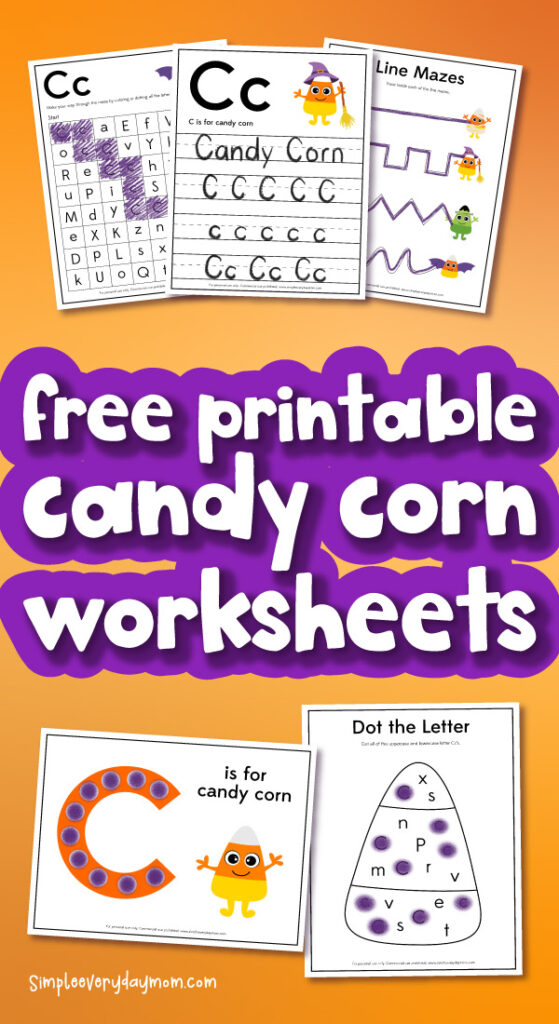 candy corn worksheet mockup with the words free printable candy corn worksheets