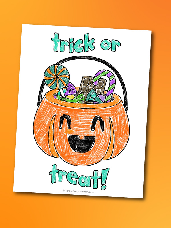 Halloween candy bucket coloring page