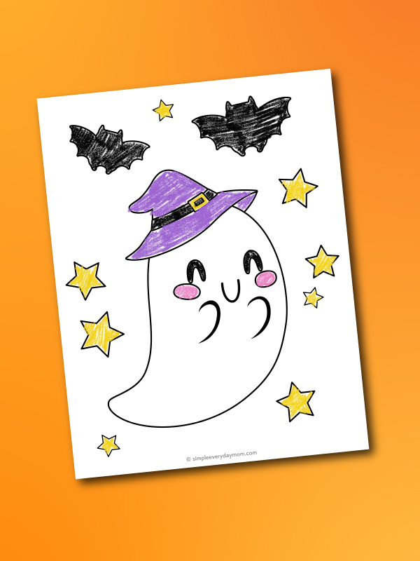 cute ghost coloring page