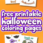 Halloween coloring pages with the words free printable Halloween coloring pages in the middle