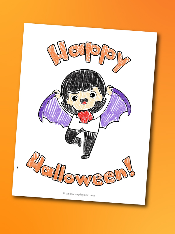 Vampire coloring page for kids