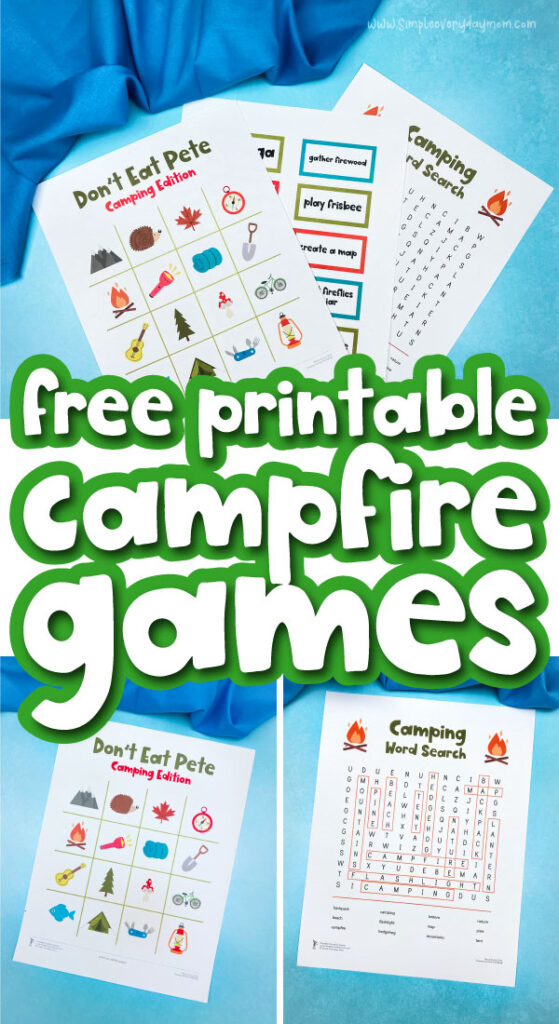 printable campfire games image collage with the words free printable campfire games in the middle
