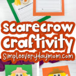 scarecrow craftivity image collage with the words scarecrow craftivity in the middle