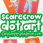 scarecrow dot art image collage with the words scarecrow dot art in the middle