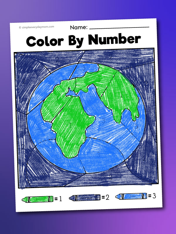 Earth color by number