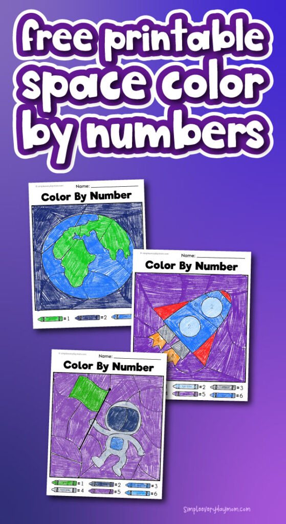 space color by number printables with the words free printable space color by numbers at the top
