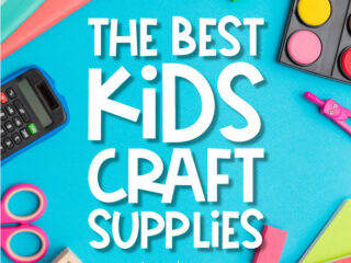 craft supply background with the words the best kids craft supplies in the middle