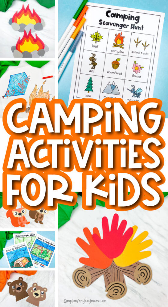 camping activities image collage with the words camping activities for kids in the middle