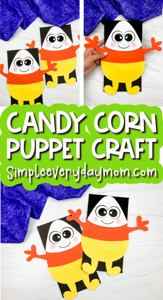 candy corn puppet craft image collage with the words candy corn puppet craft in the middle