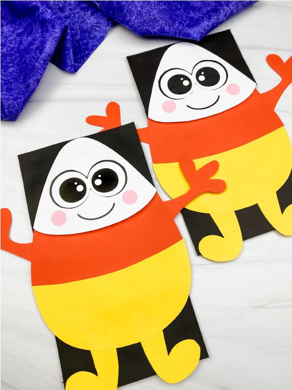 2 candy corn puppet crafts
