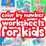color by number worksheet image collage with the words color by number worksheets for kids