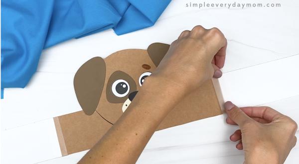 hand taping extender to dog headband craft