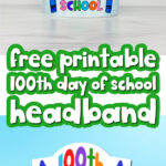 printable 100th day of school headband image collage with the words free printable 100th day of school headband in the middle