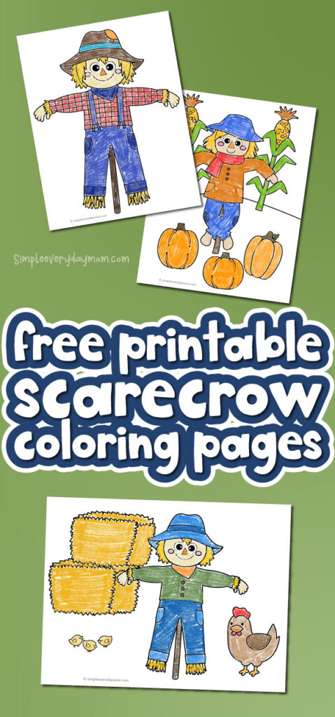 scarecrow coloring pages with the words free printable scarecrow coloring pages in the middle