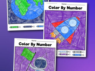 space color by number printables