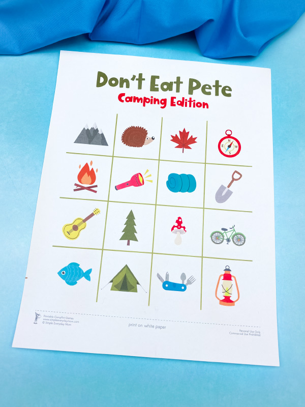 printable camping themed don't eat pete game