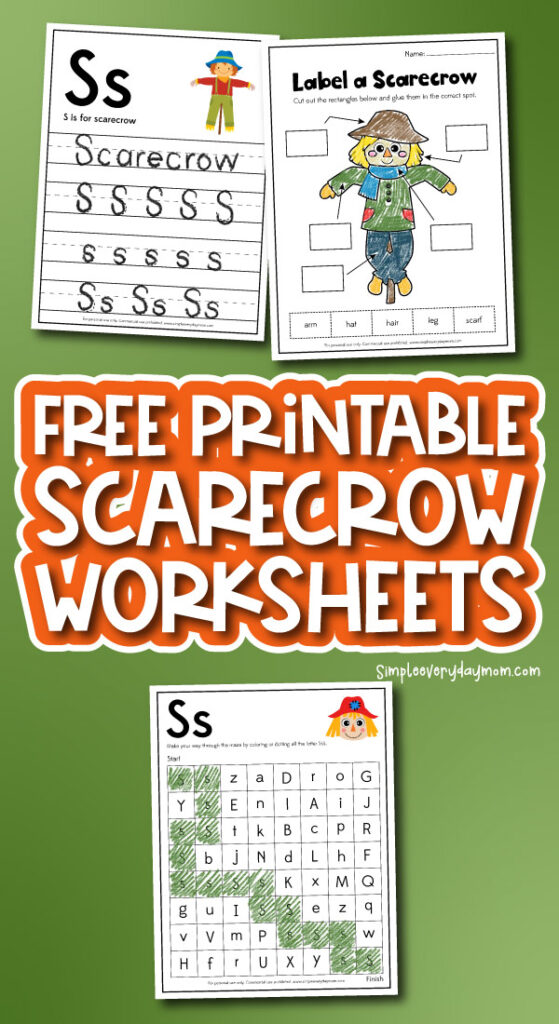 scarecrow worksheet collage with the words free printable scarecrow worksheets in the middle