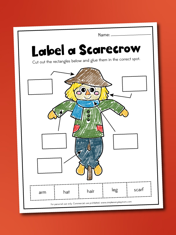 label a scarecrow worksheet