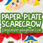 paper plate scarecrow craft image collage with the words paper plate scarecrow in the middle