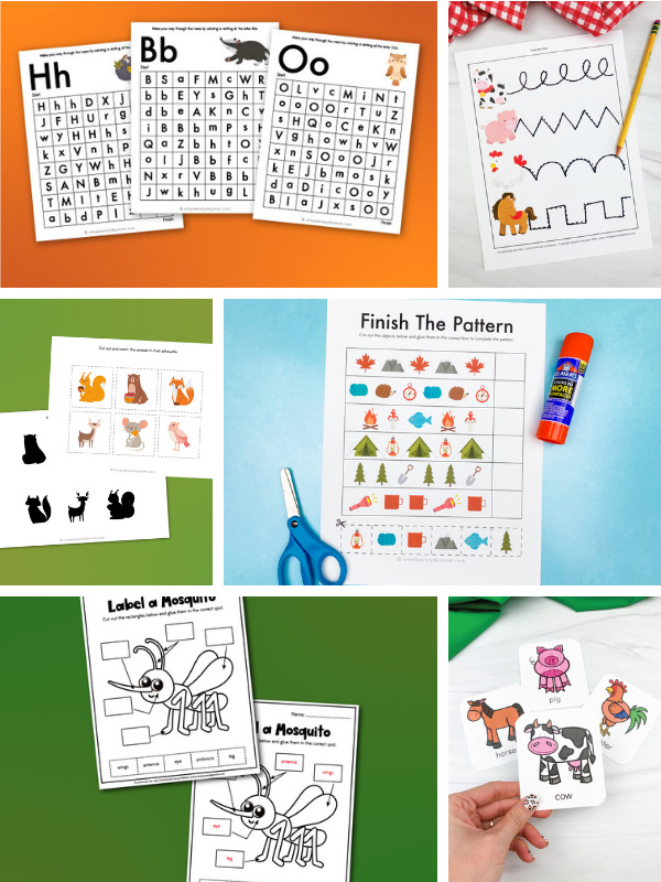 preschool worksheet image collage