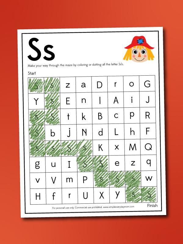 scarecrow letter maze worksheet