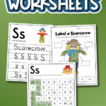 scarecrow worksheet collage with the words free printable scarecrow worksheets at the top