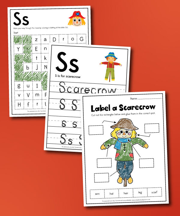 scarecrow worksheet collage